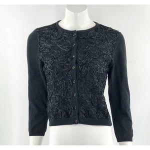 HWR Anthropologie Cardigan Sweater Sz Large Black